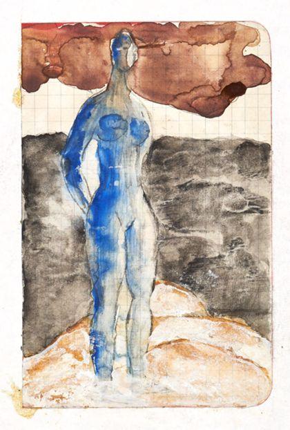 Stehender weiblicher Akt in Blau in abstrakter Landschaft