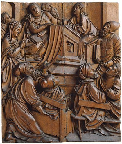 Relief des Besuchs Jesu bei den Gelehrten im Tempel.