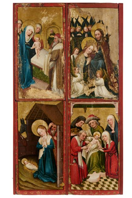 Altarflügel mit Szenen des Marienlebens, von oben links bis unten rechts: Darbringung im Temepl, Marienkrönung, Geburt Christi, Beschneidung.
