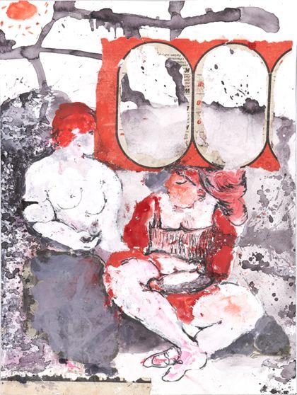 Zwei sitzende Frauen in abstrakter Landschaft