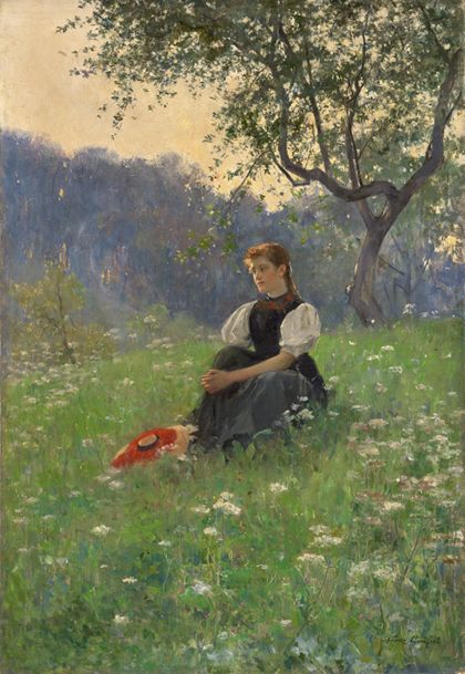 Franz Xaver Gräßel Gutach Woman in a Meadow