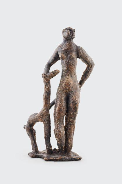 Bronzeplastik eines weiblichen stehenden Aktes mit Tier, Vorderansicht