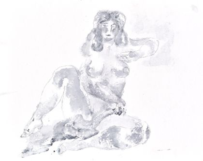 Tuschzeichnung eines sitzenden weiblichen Aktes von vorne mit aufgestelltem rechtem Bein