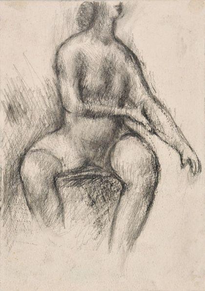 Zeichnung eines sitzenden weiblichen Aktes mit gespreizten Beinen in Frontalansicht