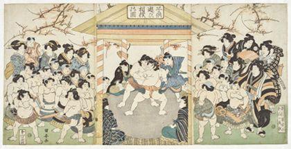 Kuniyasu Utagawa Children playing sumo wrestling