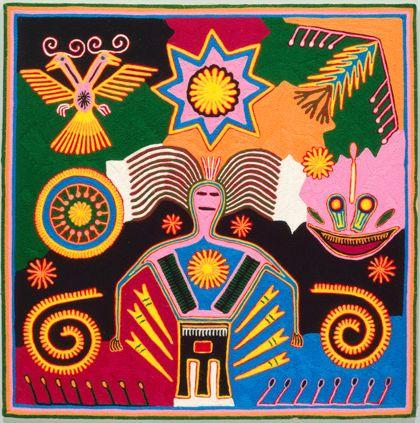 Das farbenfrohe Garnbild der Huichol zeigt die Erdgöttin Nakawé und stilisierte Darstellungen des Peyote, von Mais-Tortillas und dem doppelköpfigen Adler.