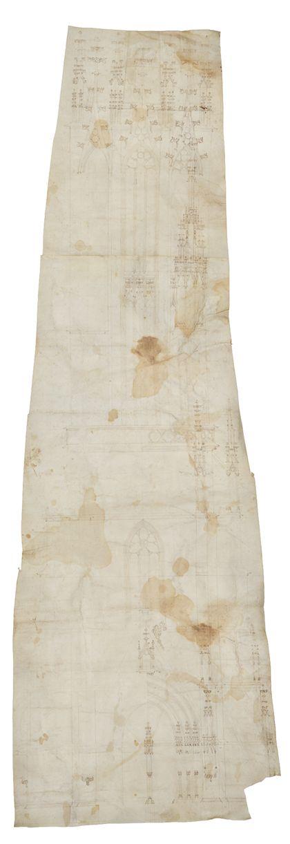Planzeichnung des Freiburger Münsterturms von Westen, Federzeichnung auf Pergament, oberer Teil mit Maßwerkhelm fehlt, Gesamtansicht